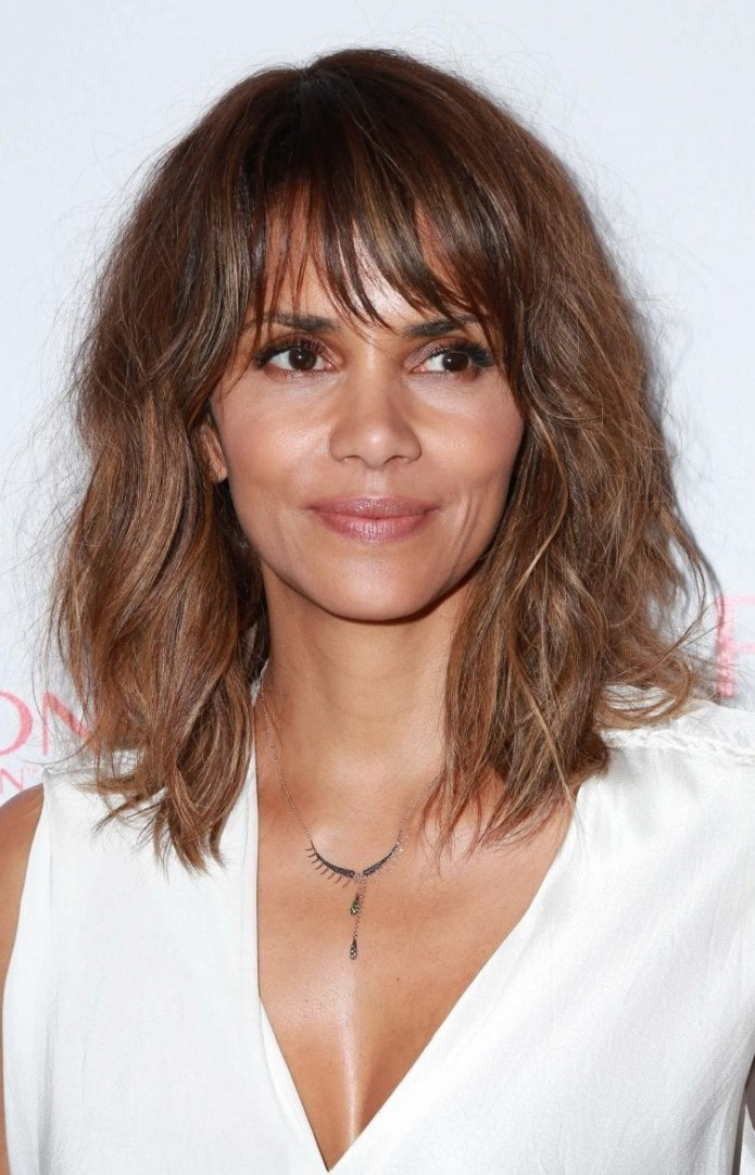 Halle-Berrys-Brunette-Messy-Shag Hairstyles for Women Over 40