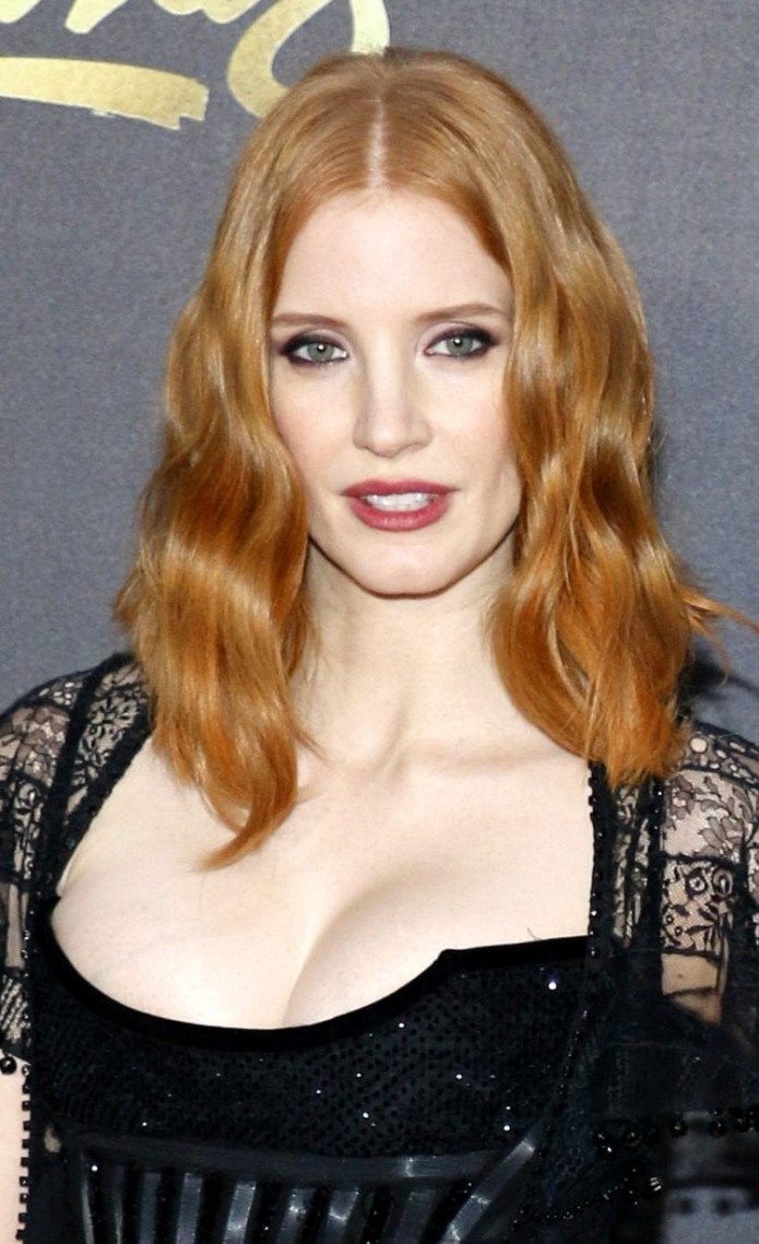 Jessica-Chastains-Strawberry-Blonde-Long-Bob Hairstyles for Women Over 40