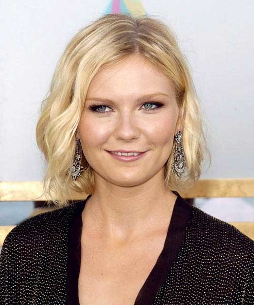 Kirsten-Dunst-Wavy-Bob-Hairstyle-for-Round-Face Bob Cuts for Round Faces