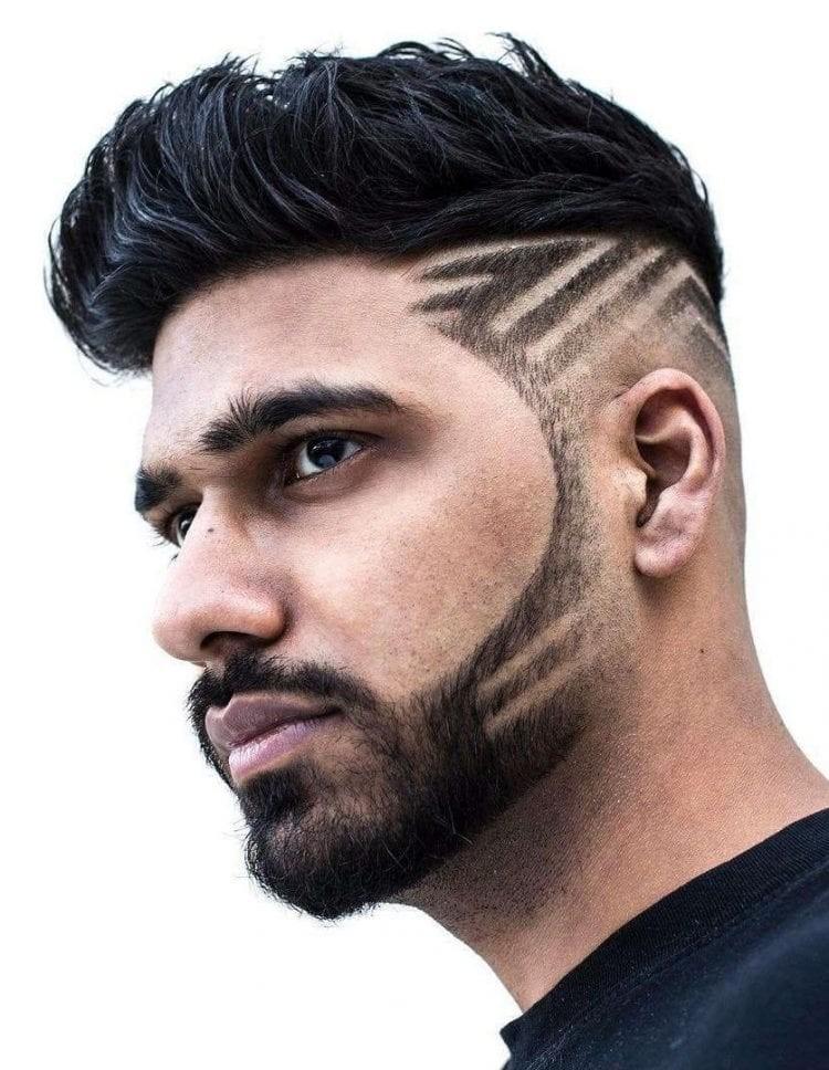 Lined-Haircut-Pattern Unique Haircut Designs for Men
