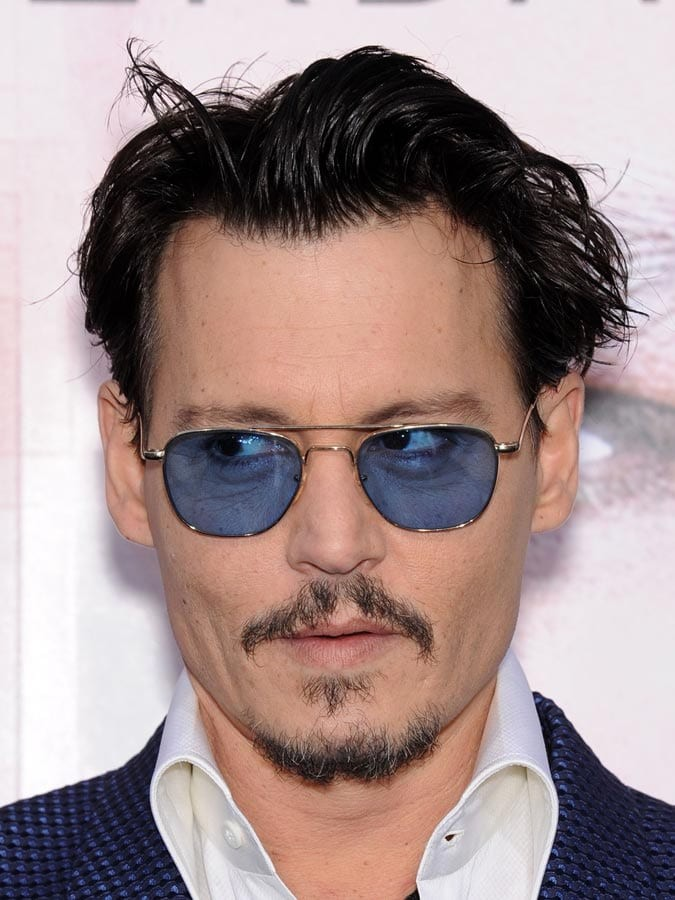 Medium-Long-Slicked-Back-Johnny-Depp Selected Hairstyles for Men With Big Foreheads