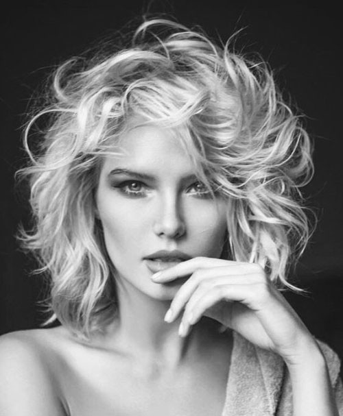 Messy-Curly-Long-Bob Latest Short Haircuts for Women 2019