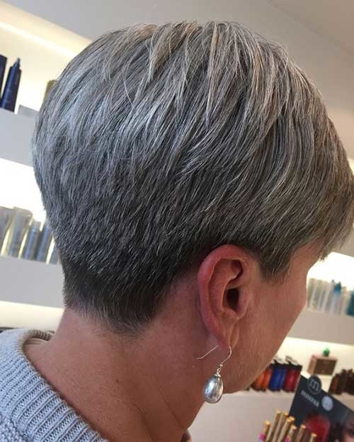 Natural-Gray-Hair Short Haircuts for Older Women 2019