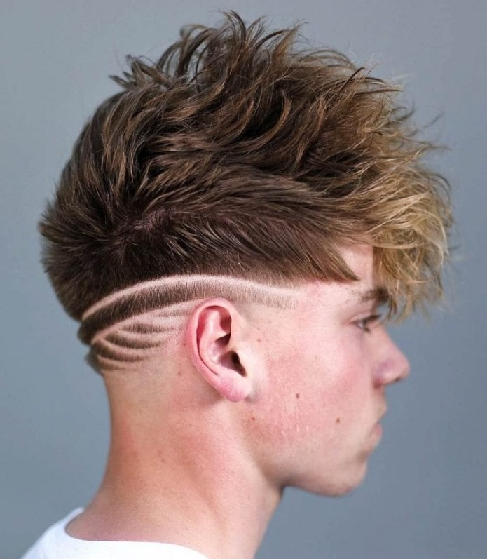 Neckline-Design-with-Messy-Top Unique Haircut Designs for Men