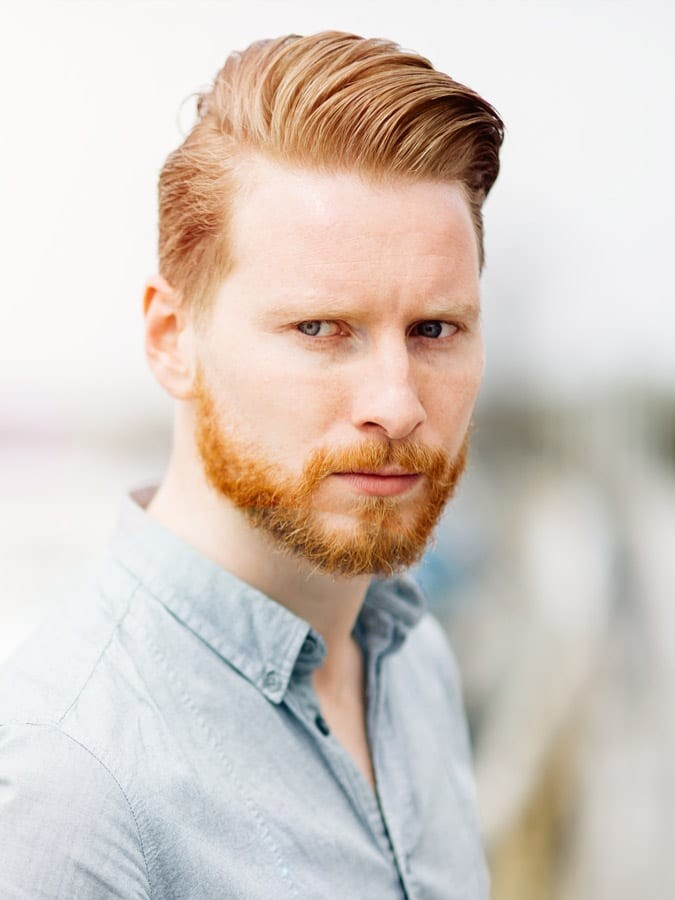 Red-Hair-Neat-Swept-Hairstyle Selected Hairstyles for Men With Big Foreheads