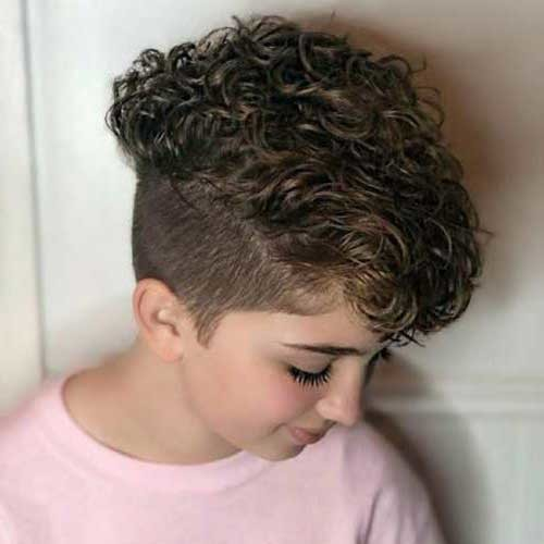 Shaved-Sides Cute Curly Short Hairstyles for Ladies