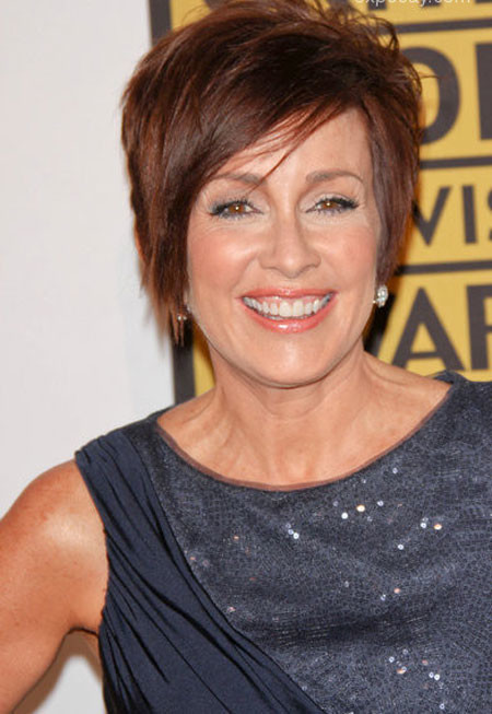 Short-Asymmetrical-Red-Hair Short Hair for Older Women