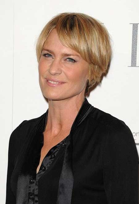 Short-Blonde-Neat-Bangs Beautiful Short Celebrity Hairstyles