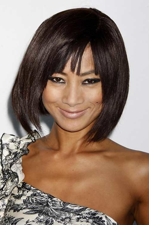 Short-Layered-Bob-Hairstyle-with-Bangs-for-Asian-Girls Short Bob Haircut with Bangs
