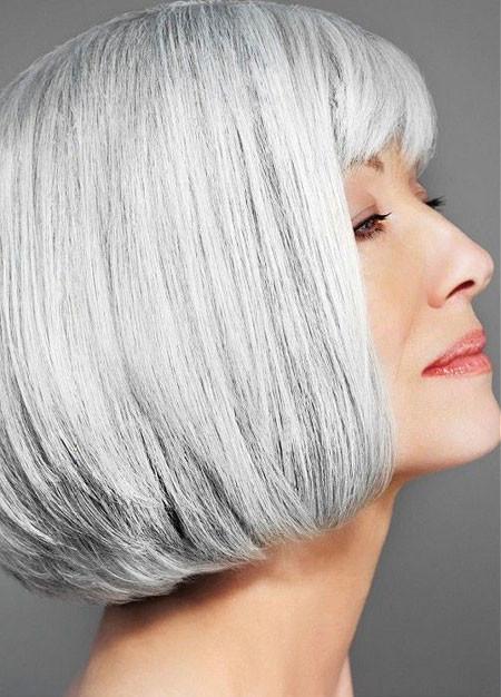 Short-Neat-Grey-Straight-Hair Short Hair for Older Women