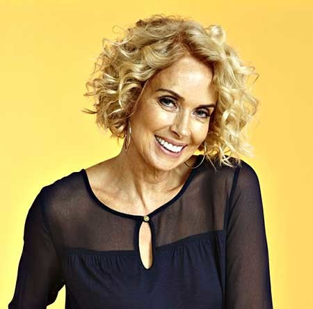 Short-Side-Swept-Blonde-Colored-Curly-Hairdo Short Styles for Curly Hair