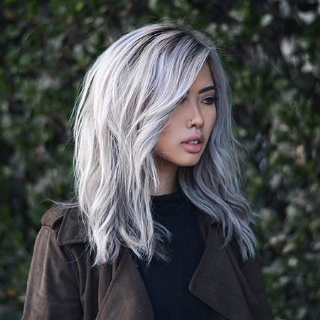 Silver-Long-Bob New Bob Hairstyles 2019