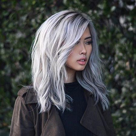 Silver-Long-Bob New Bob Hairstyles 2019