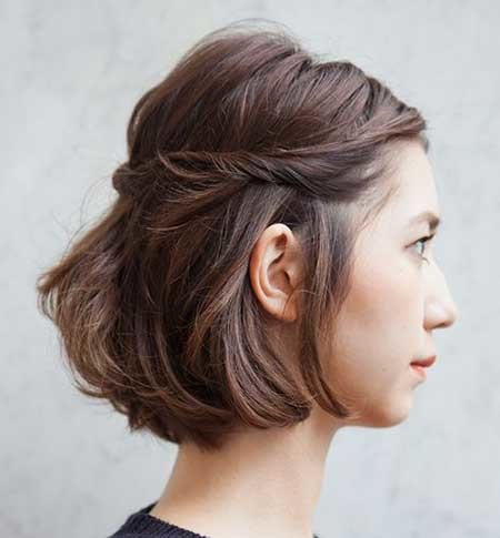 Simple-Twisted-Hairstyle-with-Bouncy-Top-for-Girls Short Braided Hairstyle