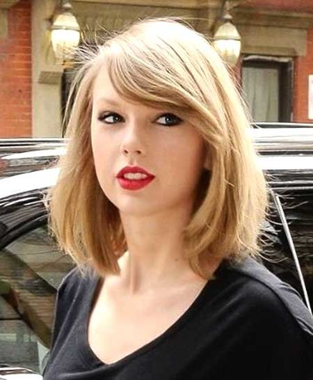 Stylish-Bob-Side-Apart-Blonde Beautiful Short Celebrity Hairstyles