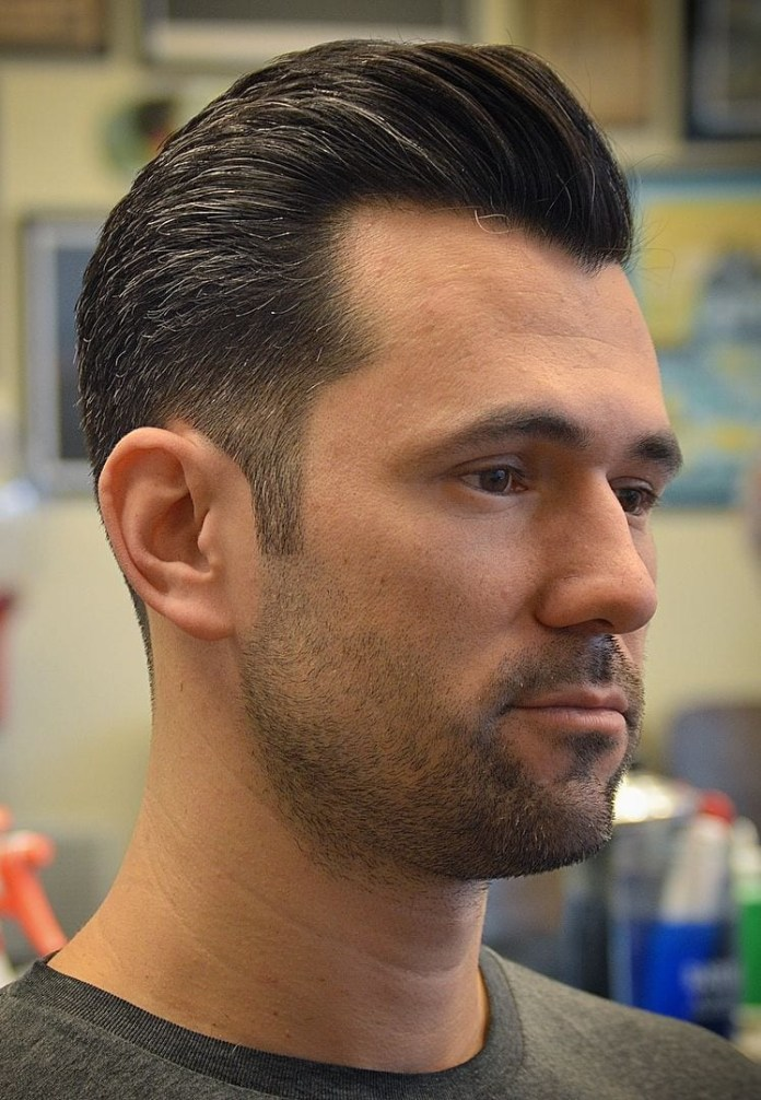 Tapered-Pompadour-with-Widows-Peak Selected Hairstyles for Men With Big Foreheads