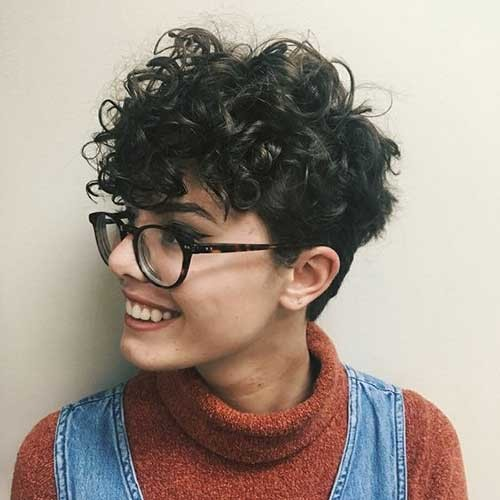 Thick-Curly-Pixie Cute Curly Short Hairstyles for Ladies