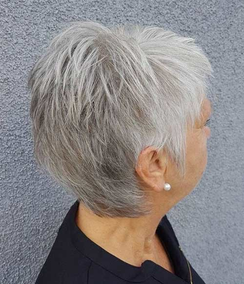 White-Grey-Pixie Short Haircuts for Older Women 2019