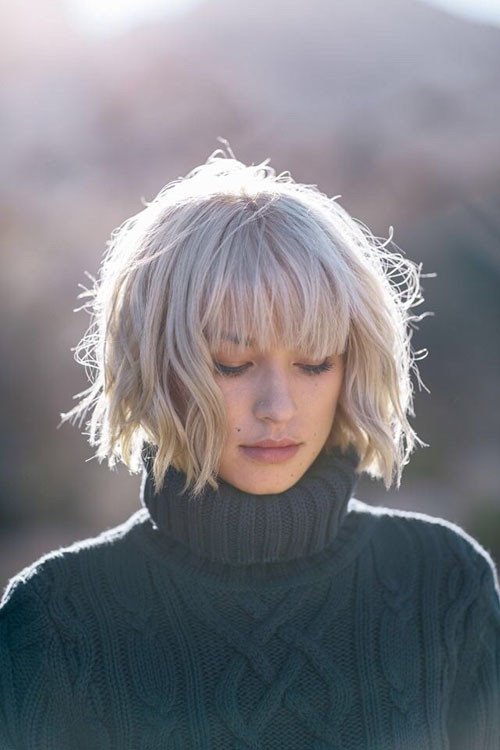 short-layered-bob-hairstyle-with-bangs Best Short Layered Bob With Bangs