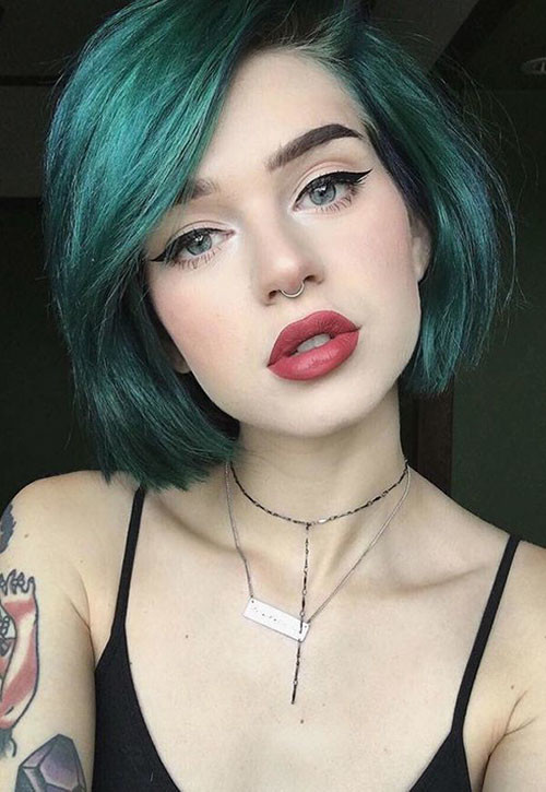11-short-blue-hairstyles Popular Short Blue Hair Ideas in 2019
