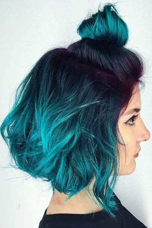 19-blue-ombre-short-hair Popular Short Blue Hair Ideas in 2019