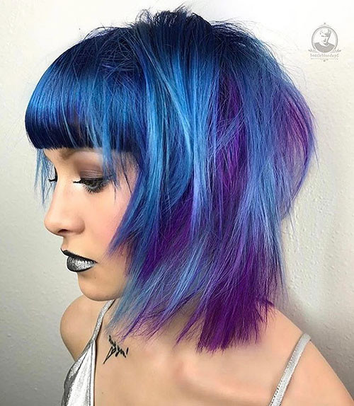 32-purple-and-blue-short-hair Popular Short Blue Hair Ideas in 2019