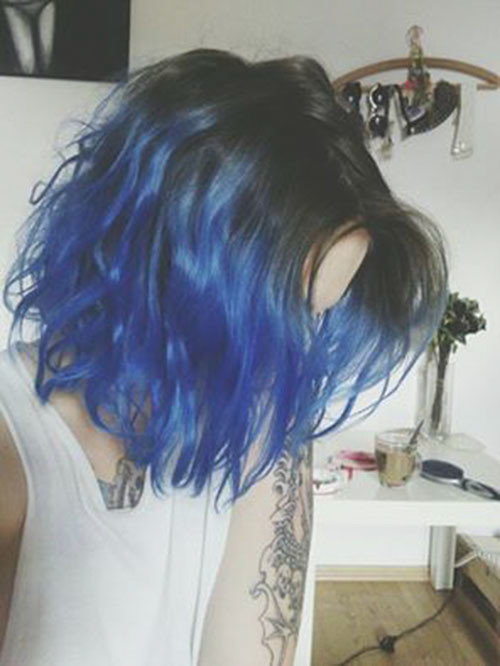 Blue-Ombre-Short-Hair Popular Short Blue Hair Ideas in 2019
