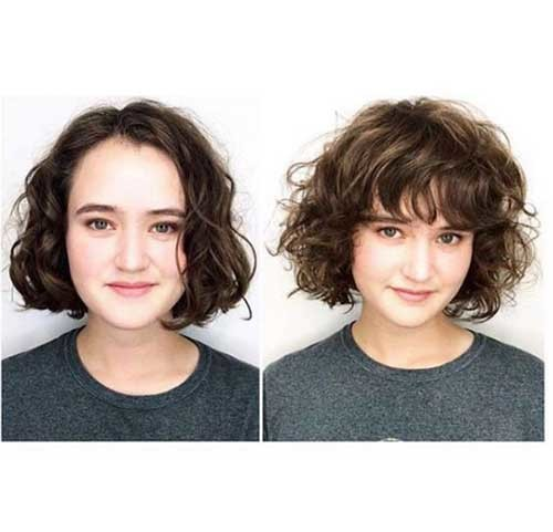 Bob-Hairstyle-with-Bangs-for-Curly-Hair Curly Bob Hairstyles for Chic Women