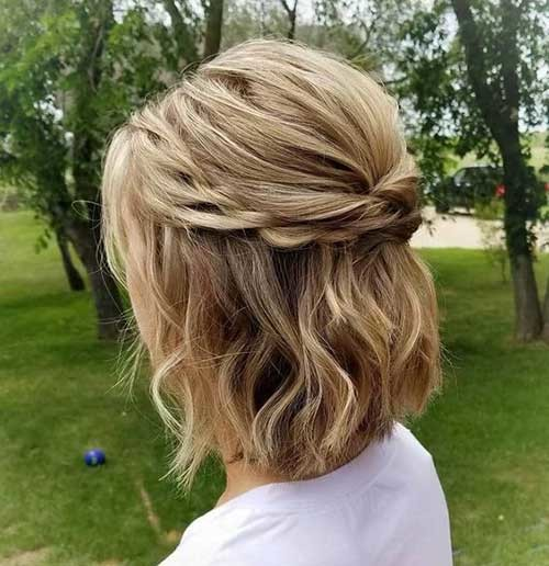 Braided-Half-Up-for-Short-Hair Simple Short Hairstyles for Pretty Women