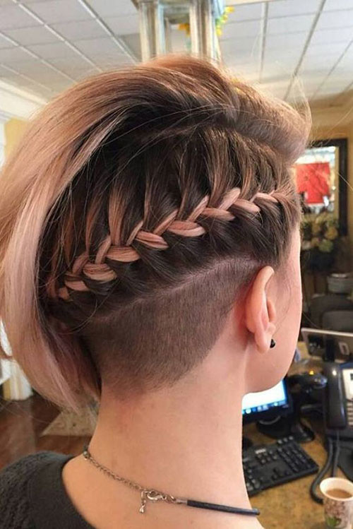 Braided-Nape Cute Short Haircuts and Styles Women
