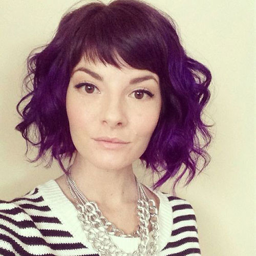 Curly-Bob-with-Straight-Bangs Elegant Short Haircuts for Thick Hair