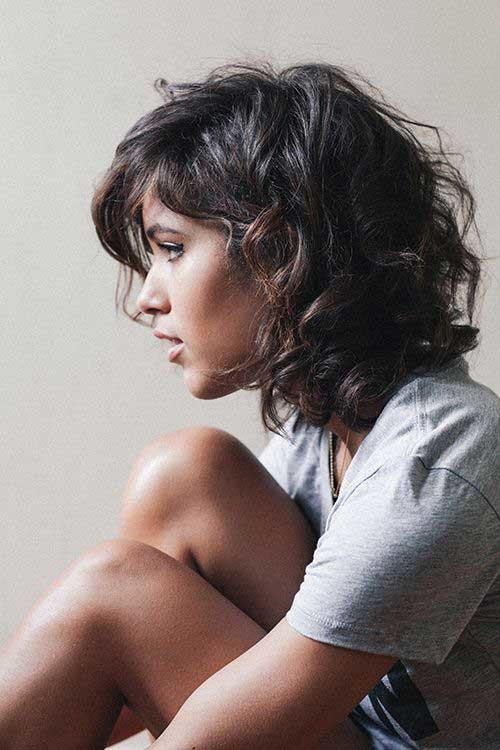 Curly-Hair-with-Bangs Very Popular Curly Short Hairstyles Every Lady Need to See