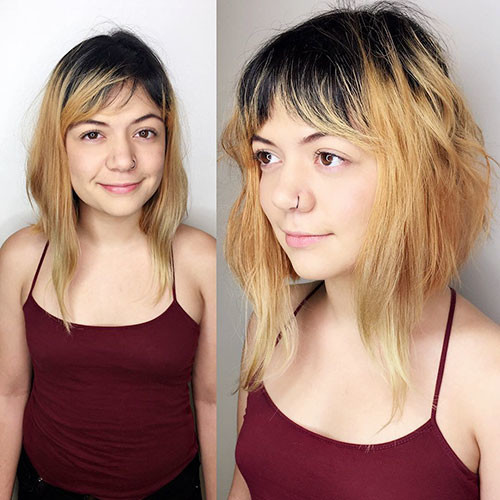 Cute-Hair-Color Populer Blunt Bob With Bangs 2019