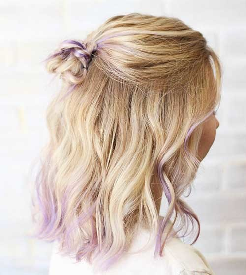 Cute-Half-Bun Striking Short Hair Ideas for Blondies