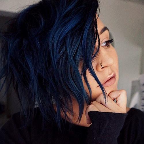 Dark-Blue-Hair Popular Short Blue Hair Ideas in 2019