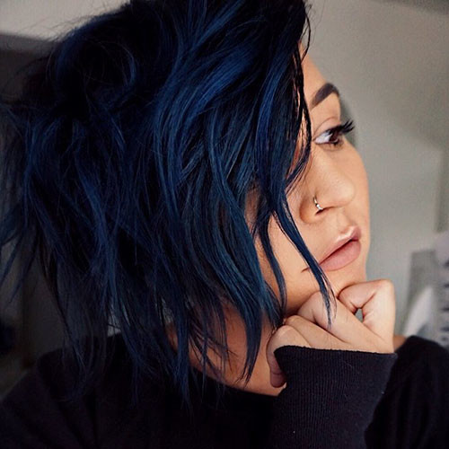 Dark-Blue-Hair Popular Short Blue Hair Ideas in 2019