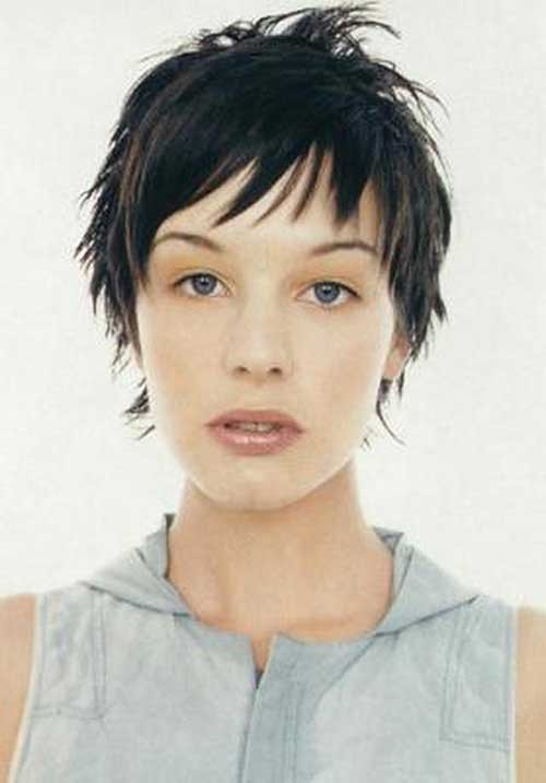 Dark-Pointy-Layered-Hair Womens Short Hairstyles for Thin Hair