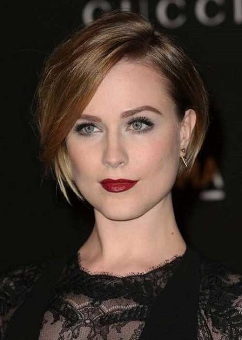 Evan-Rachel-Wood-Short-Hairstyle-with-Straight-Side-Bangs Nice Short Straight Hairstyles with Bangs