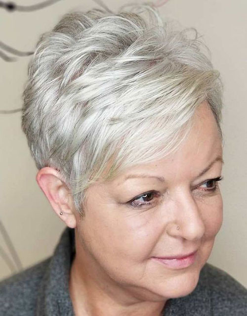 Fine-Grey-Pixie Best Short Haircuts for Women Over 50