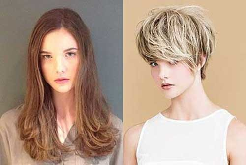 Hair-with-Bangs Before and After Pics of Short Haircuts