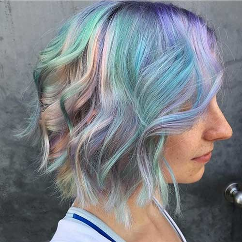Holographic-Hair Trending Style for Summer: Curly and Wavy Hairstyles