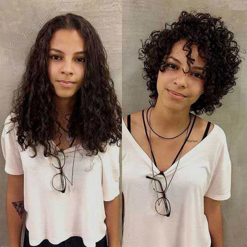 Long-To-Short-Curly-Hair-Transformation In Style Short Haircuts for Black Women
