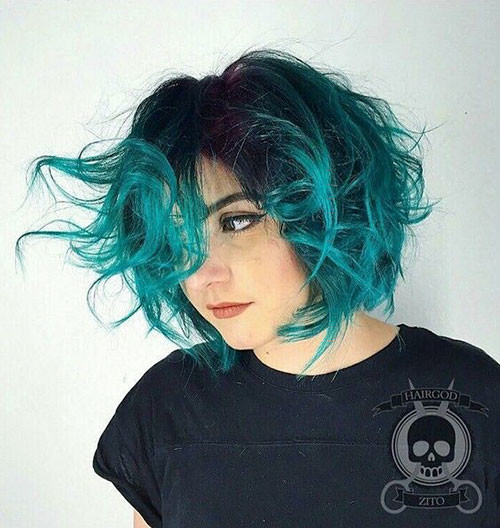 Messy-Hair Popular Short Blue Hair Ideas in 2019