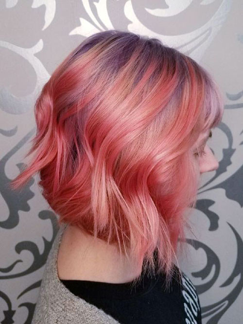 Pink-Red-Hair Trendy Hair Colors for Short Hair for Ladies