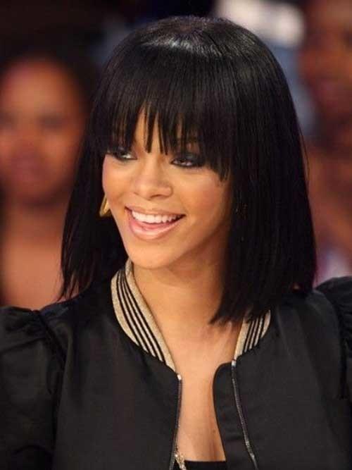 Rihanna-Straight-Long-Bob-Hairstyle-with-Bangs Nice Short Straight Hairstyles with Bangs