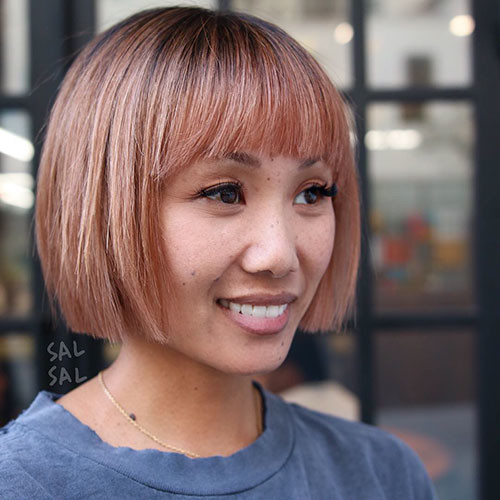 Rose-Gold Populer Blunt Bob With Bangs 2019
