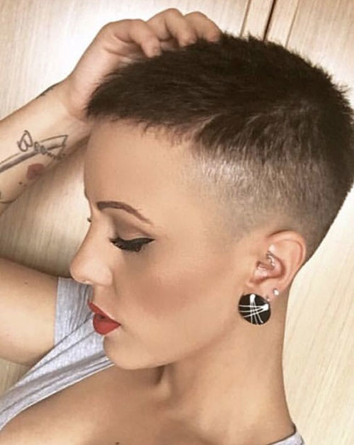 Shaved-Brown-Hair Short Brown Hairstyles for Fashionable Women