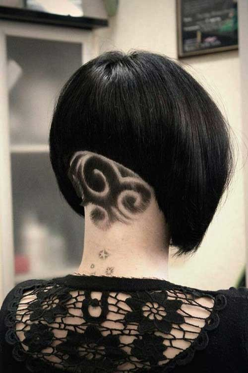 Shaved-Pattern-In-Nape Short Haircut Pics for Straight Hair