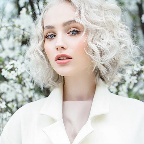Short-Curly-White-Hairstyle New Short White Hair Ideas 2019