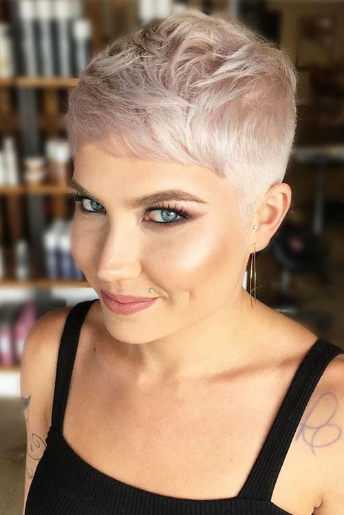 Short-Faded-Hair-Cut Sweet and Sexy Pixie Hairstyles for Women